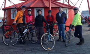 PortBUG members meet up with PA/E's Kerrie McConnell for an Outer Harbour Greenway Recon Ride (Kerrie in red).