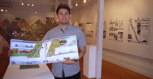 Adelaide University student Joe Chapman, at the 'Landscapes in Transition' exhibition, Port Adelaide.