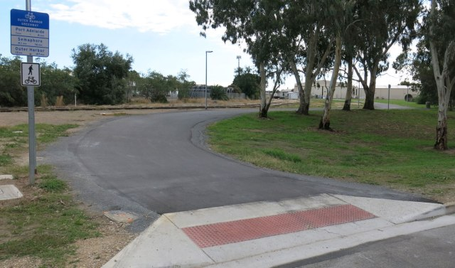 Outer Harbour Greenway: The completed Eastern ramp entrance to the Rosewater railyards section.